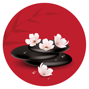 vector zen stones and cherry flowers